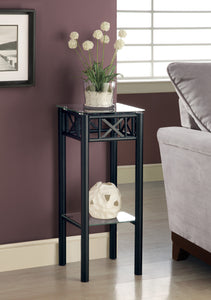 Candace & Basil Plant Table - Black Metal With Tempered Glass