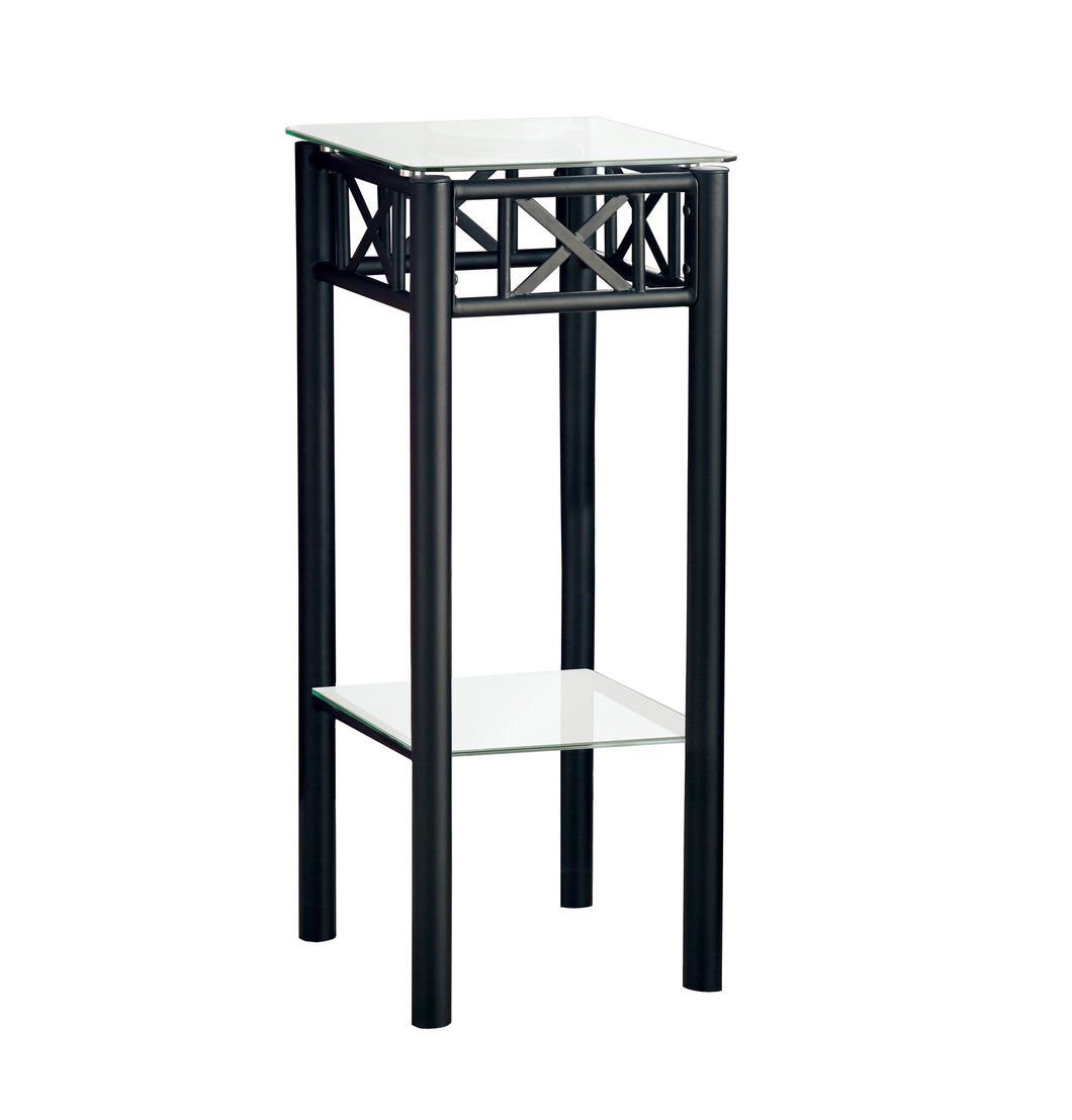 Plant Table - Black Metal With Tempered Glass