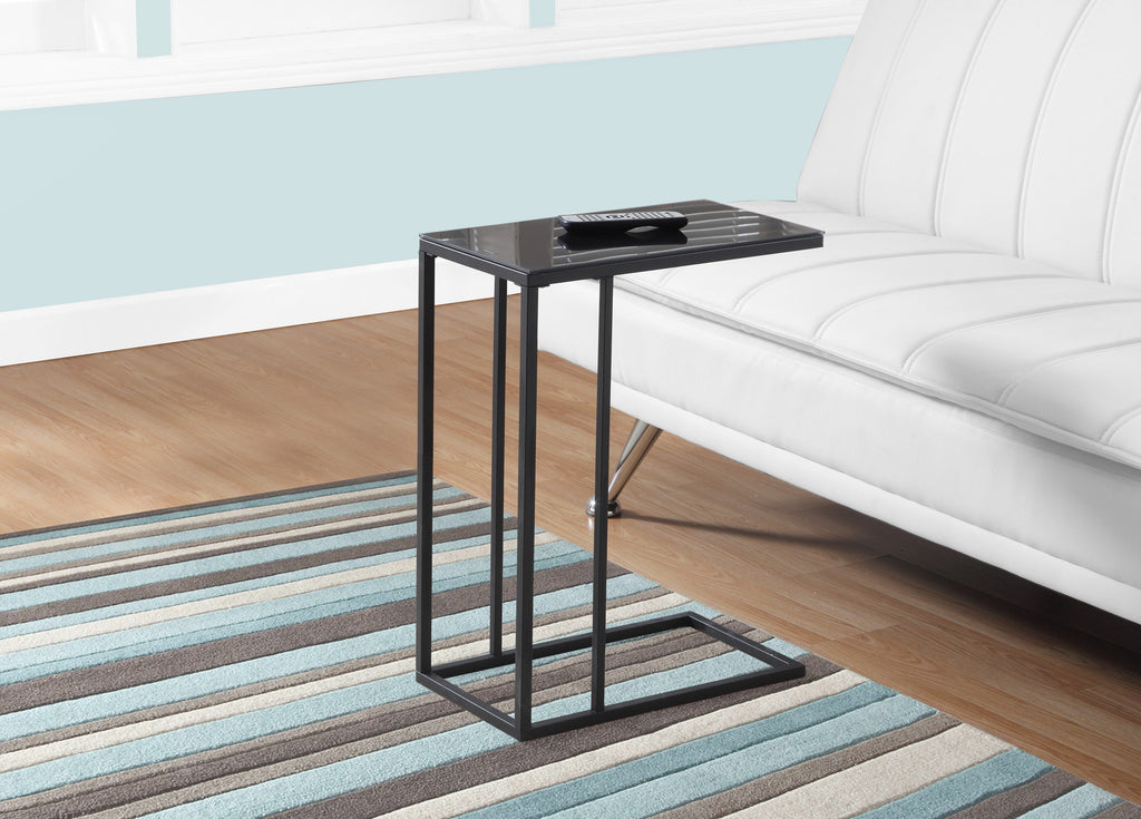 Candace & Basil Snack Table - Black Metal / Black Tempered Glass