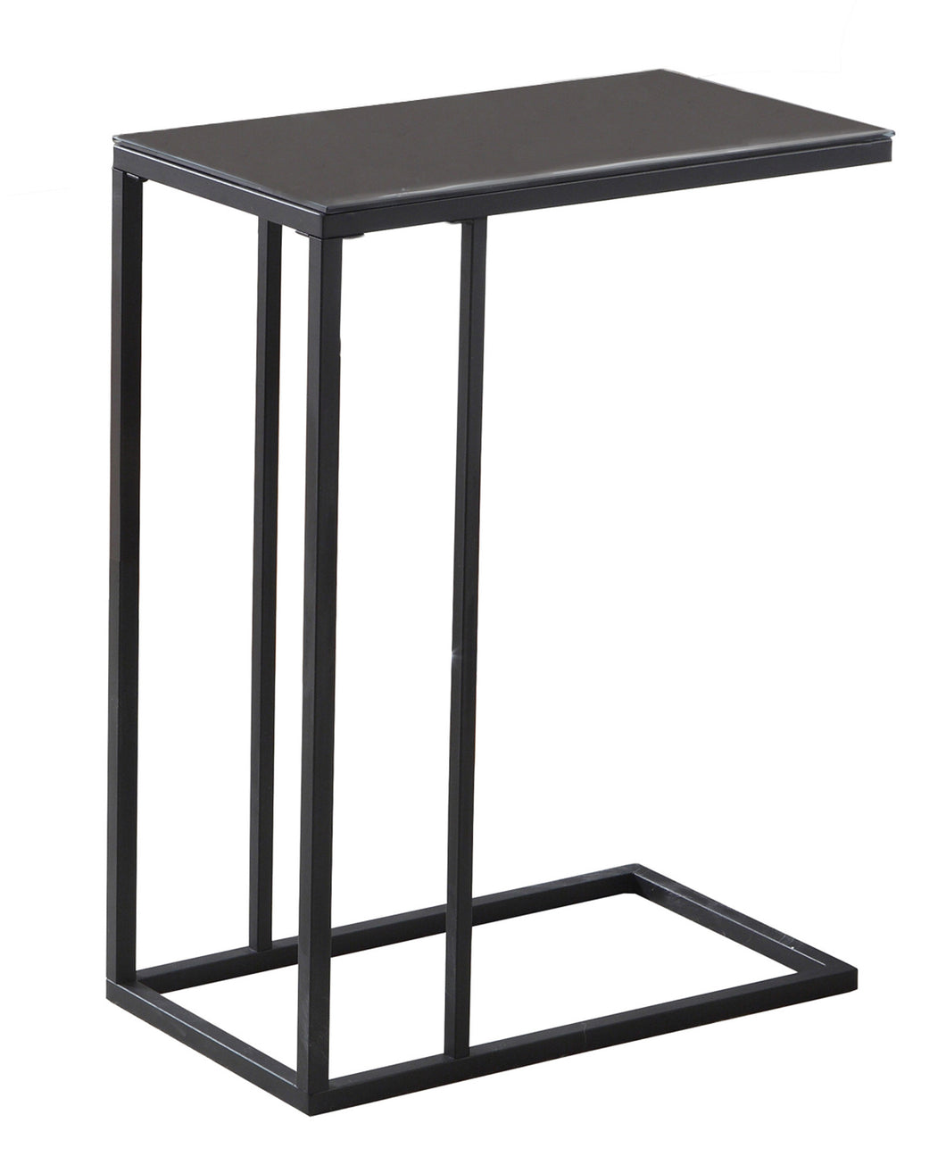 Snack Table - Black Metal / Black Tempered Glass