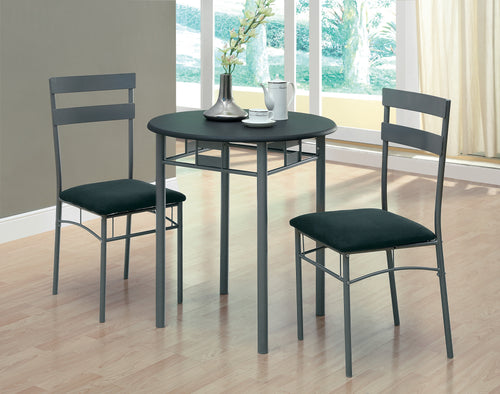 Candace & Basil Dining Set - 3PC Set / Black / Silver Metal