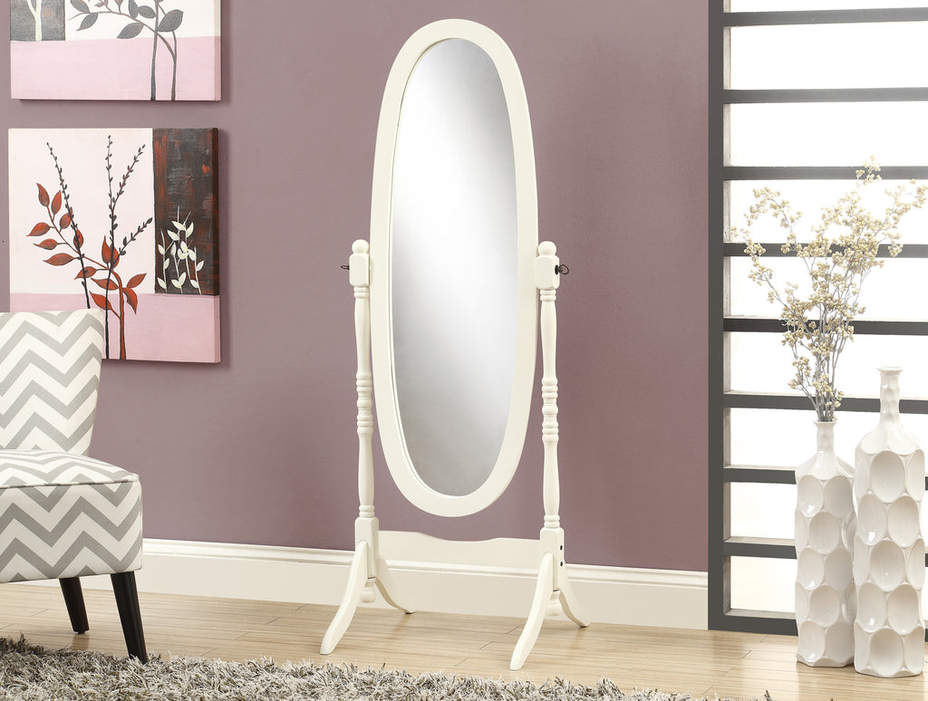 "Candace & Basil Mirror - 59""H / Antique White Oval Wood Frame"