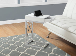 Candace & Basil Snack Table - Chrome Metal / Glossy White With A Drawer