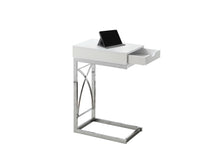 Load image into Gallery viewer, Snack Table - Chrome Metal / Glossy White With A Drawer