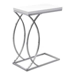 Accent Table - Glossy White With Chrome Metal