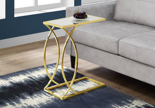 Accent Table - Mirror Top With Gold Metal