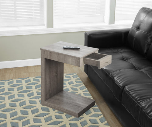 Candace & Basil Snack Table - Dark Taupe With A Drawer