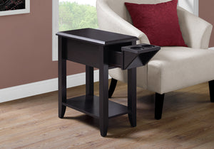 "Accent Table - 24""H / Cappuccino With A Glass Holder"