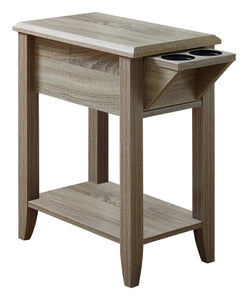 "Accent Table - 24""H / Dark Taupe With A Glass Holder"