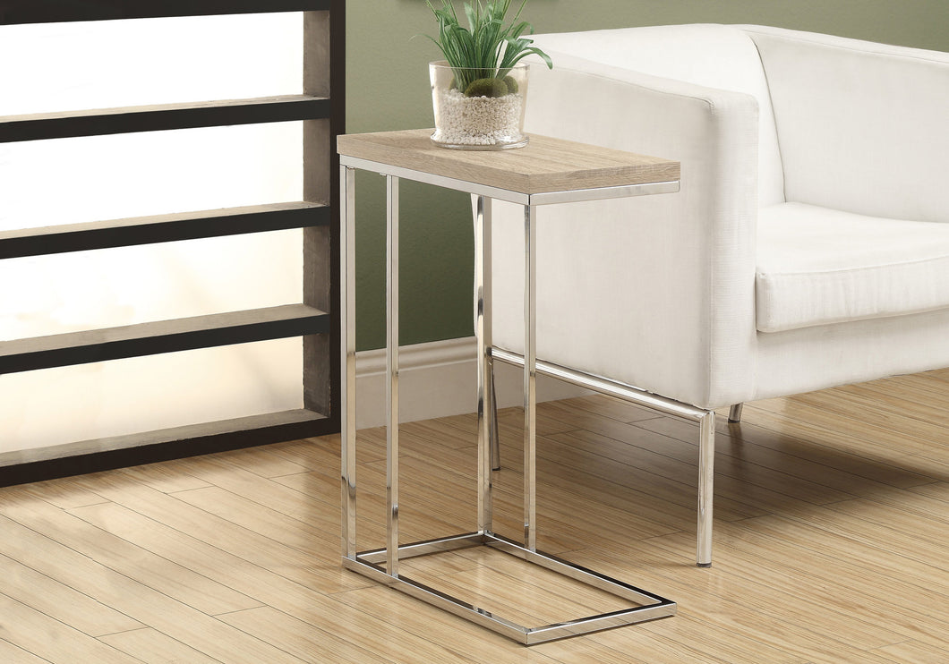 Candace & Basil Accent Table - Natural With Chrome Metal