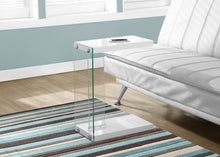 Load image into Gallery viewer, Candace & Basil Snack Table - Glossy White With Tempered Glass