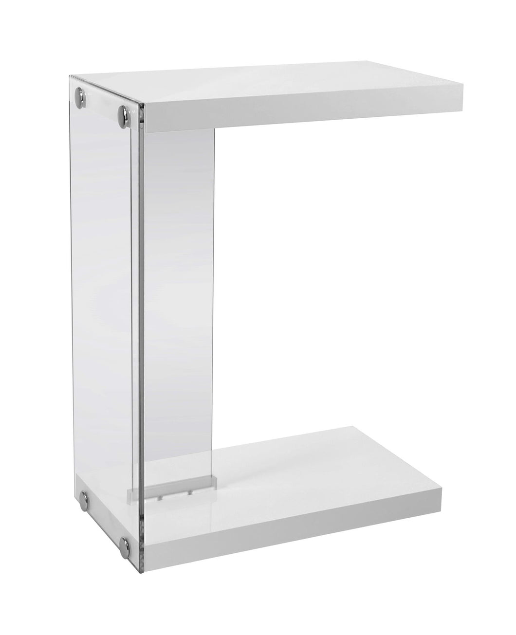 Snack Table - Glossy White With Tempered Glass