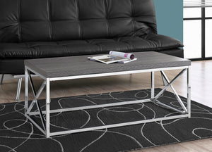 Candace & Basil Coffee Table - Grey With Chrome Metal
