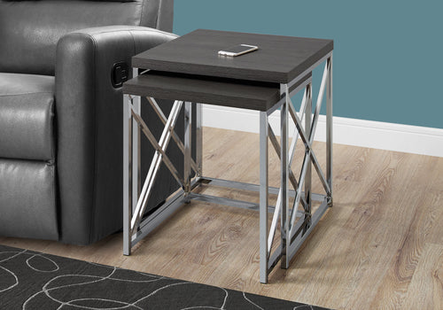 Candace & Basil Nesting Table - 2pc Set / Grey With Chrome Metal