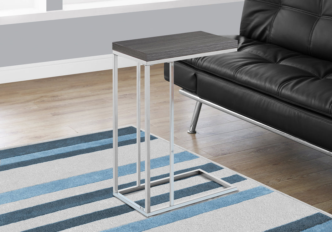 Candace & Basil Accent Table - Grey With Chrome Metal