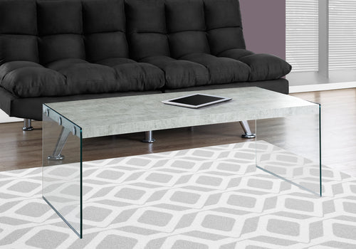 Candace & Basil Coffee Table - Grey Cement With Tempered Glass
