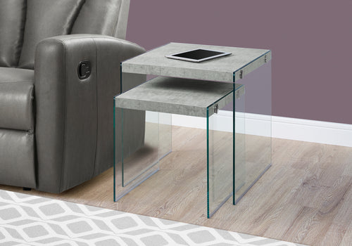 Candace & Basil Nesting Table - 2pc Set / Grey Cement / Tempered Glass
