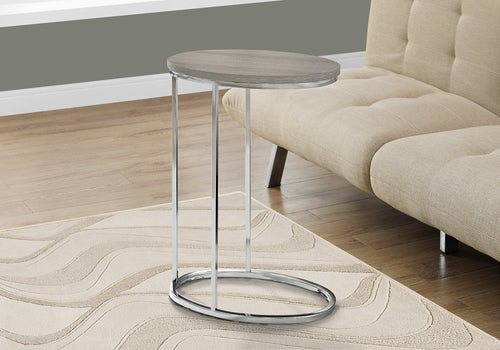 Candace & Basil Accent Table - Oval / Dark Taupe With Chrome Metal