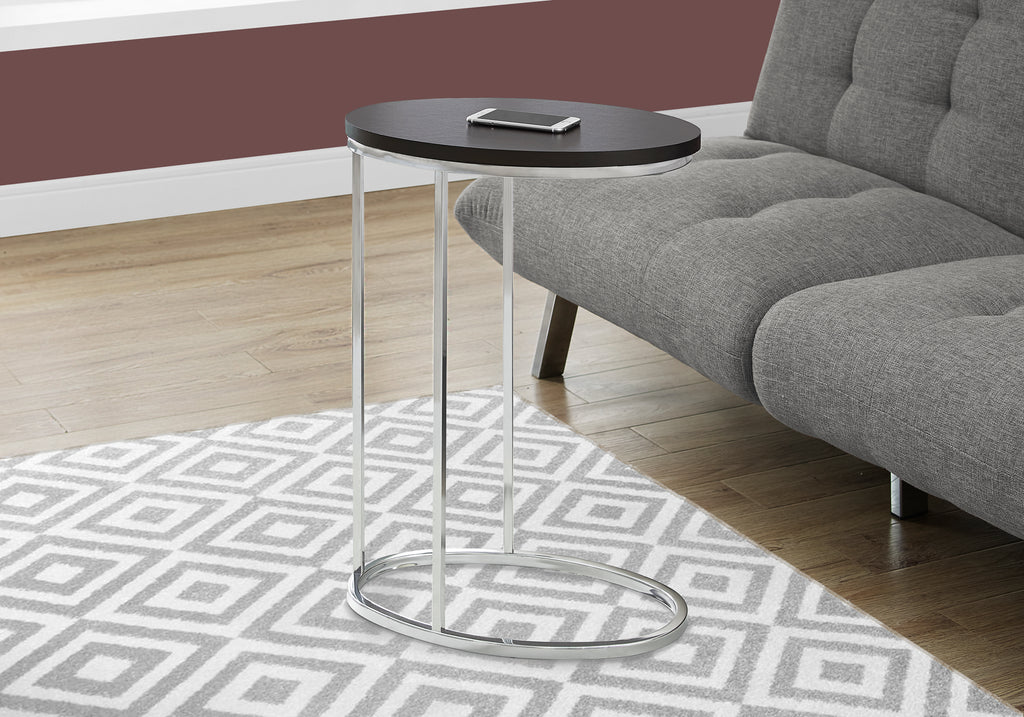 Candace & Basil Accent Table - Oval / Cappuccino With Chrome Metal