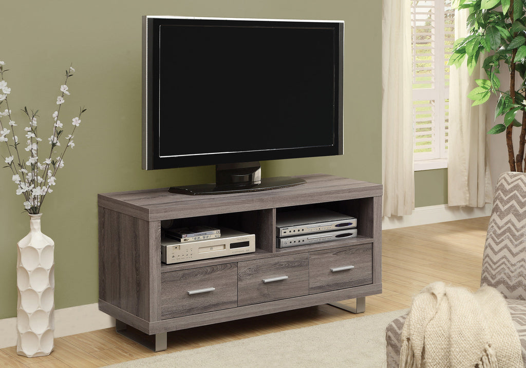 "Candace & Basil TV Stand - 48"" L / Dark Taupe With 3 Drawers"