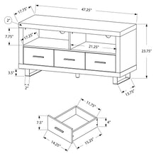 "Load image into Gallery viewer, Tv Stand - 48"" L / Dark Taupe With 3 Drawers"