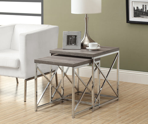 Candace & Basil Nesting Table - 2PC Set / Dark Taupe With Chrome Metal