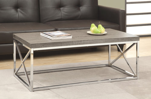 Candace & Basil Coffee Table - Dark Taupe With Chrome Metal