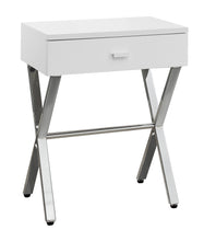 Load image into Gallery viewer, Accent Table - Glossy White / Chrome Metal Night Stand