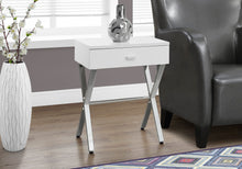 Load image into Gallery viewer, Candace & Basil Accent Table - Glossy White / Chrome Metal Night Stand