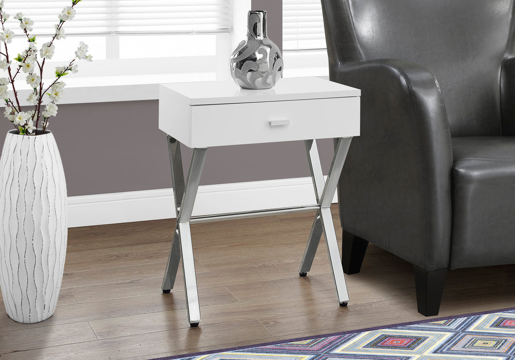 Candace & Basil Accent Table - Glossy White / Chrome Metal Night Stand
