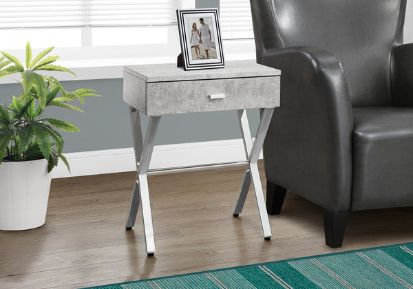 Candace & Basil Accent Table - Grey Cement / Chrome Metal Night Stand