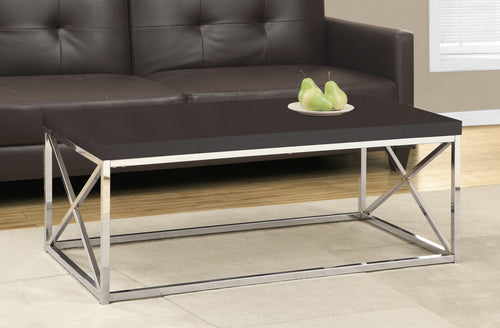 Candace & Basil Coffee Table - Cappuccino / Chrome Metal