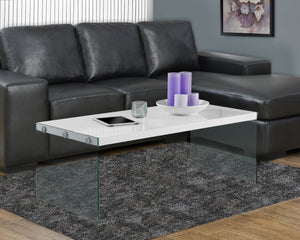 Candace & Basil Coffee Table - Glossy White With Tempered Glass