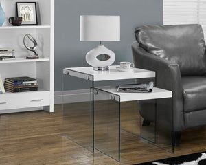 Candace & Basil Nesting Table - 2PC Set / Glossy White / Tempered Glass