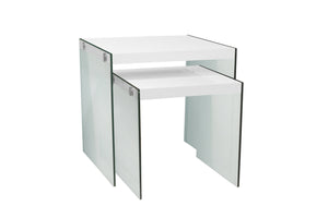 Nesting Table - 2PC Set / Glossy White / Tempered Glass