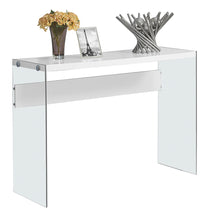 Load image into Gallery viewer, Console Table - Glossy White With Tempered Glass