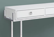 "Load image into Gallery viewer, Console Table - 48""L / Glossy White / Chrome Metal"