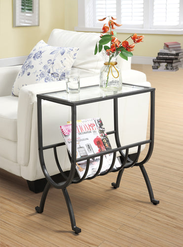 Candace & Basil Accent Table - Stardust Brown Metal With Tempered Glass