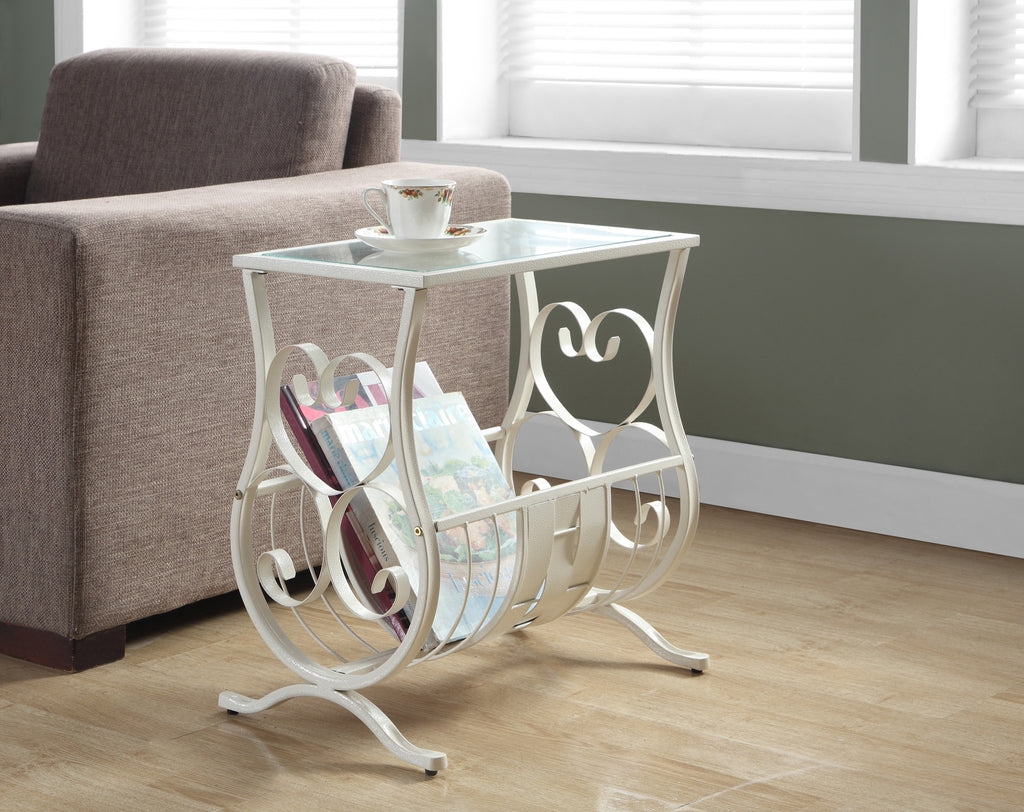 Candace & Basil Accent Table - Antique White Metal With Tempered Glass