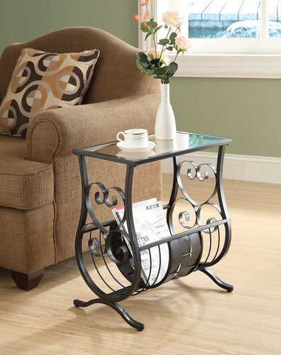 Candace & Basil Accent Table - Satin Black Metal  With Tempered Glass