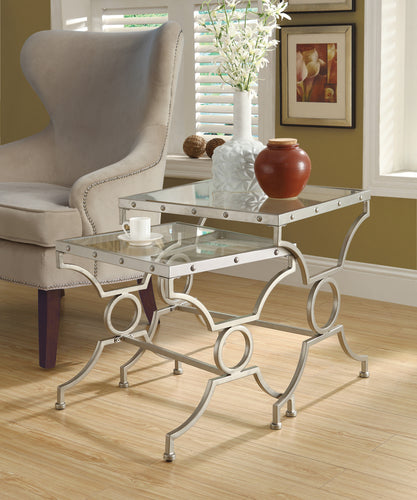 Candace & Basil Nesting Table - 2PC Set / Silver With Tempered Glass