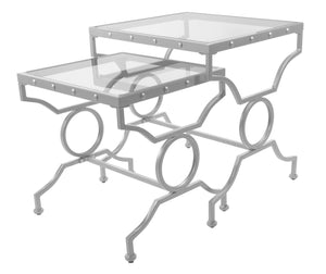 Nesting Table - 2PC Set / Silver With Tempered Glass