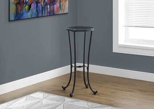 Candace & Basil Accent Table - Hammered Black Metal With Tempered Glass