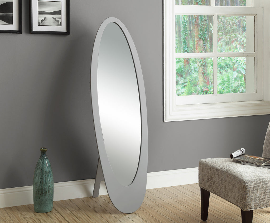 "Candace & Basil Mirror - 59""H / Grey Contemporary Oval Frame"
