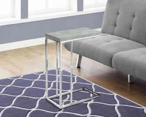 Candace & Basil Snack Table - Grey Cement With Chrome Metal
