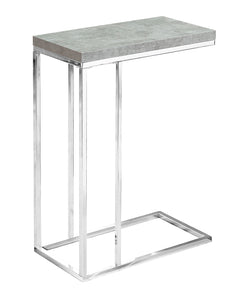 Snack Table - Grey Cement With Chrome Metal