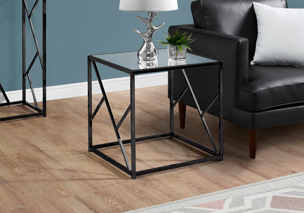 End Table - Black Nickel Metal / Mirror Top