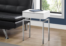 "Load image into Gallery viewer, Accent Table - 24""H / Glossy White / Chrome Metal"