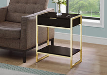 "Load image into Gallery viewer, Accent Table - 24""H / Cappuccino / Gold Metal"