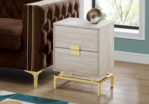"Accent Table - 24""H / Beige Marble / Gold Metal"